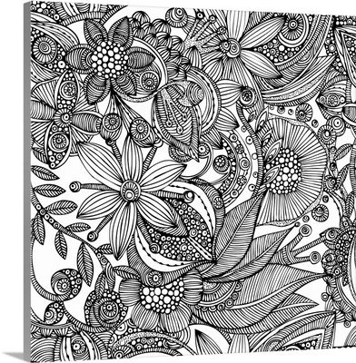 Flowers and Doodles - Black and White