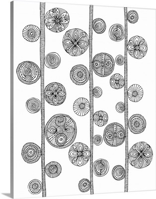 Folk Pattern Vertical - Black and White