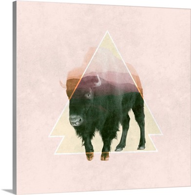 Bison Double Exposure Wildlife Art