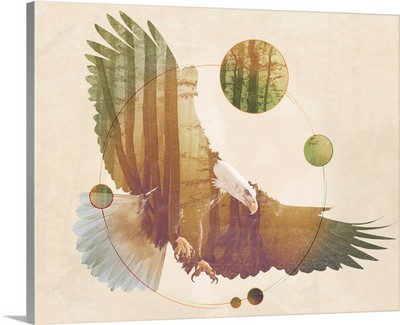 Double Exposure Wildlife Art - Eagle
