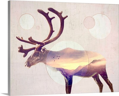 Double Exposure Wildlife Art - Reindeer