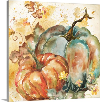 Watercolor Harvest Teal and Orange Pumpkins II