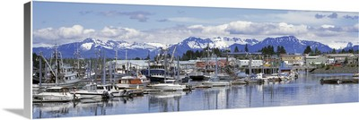 Alaska, Petersburg, South Harbor, View of boats stationed on a harbor