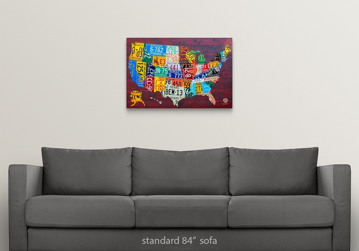 License Plate Map USA Large Wall Art, Canvas Prints, Framed ...