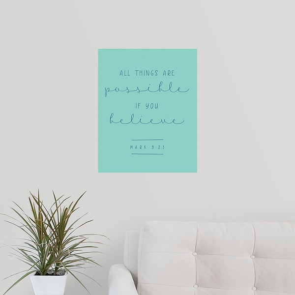 Mark 9:23 - Scripture Art in Blue and Teal | Modern Faith - Canvas