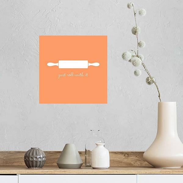 Just Roll With It Minimalist Retro Kitchen Art Kitchen Wall Art Canvas On Demand