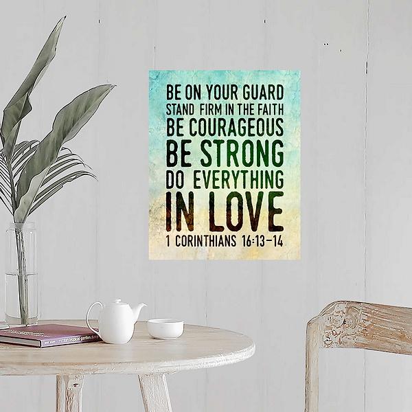 Handlettered Bible Verse Corinthians 16 13 14 Modern Faith Canvas On Demand